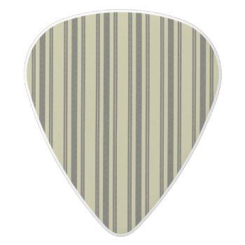 French Khaki Mattress Ticking Black Double Stripe White Delrin Guitar Pick by Honor_and_Obey at Zazzle