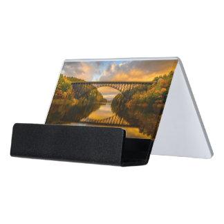 French King Bridge in Fall Desk Business Card Holder