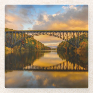 French King Bridge in Fall Glass Coaster