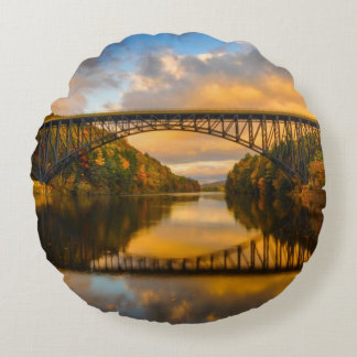 French King Bridge in Fall Round Pillow