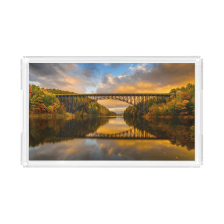 French King Bridge in Fall Serving Tray