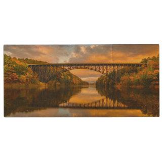 French King Bridge in Fall Wood Flash Drive