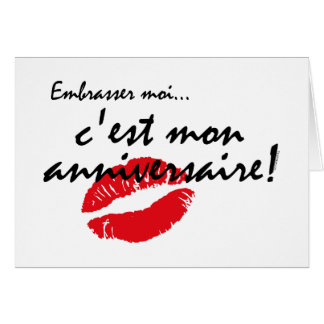 French Kiss Me Birthday Greeting Cards