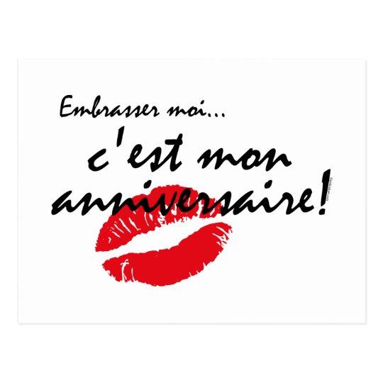 French Kiss Me Birthday Postcard