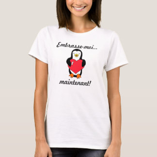 """French """"Kiss me...Now!"""" Penguin T-Shirt"""
