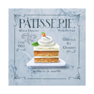 French Kitchen Decor Canvas, Carrot Cake