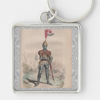 French knight in full plate armor lace background Silver-Colored square keychain