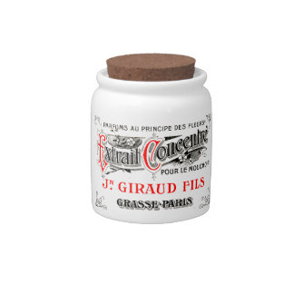 French label art candy jar
