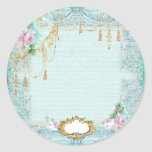 French Lace & Pink Roses Sticker Tags