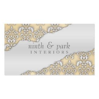 French Lace Ripped Damask Interior Design Business Card
