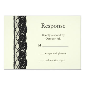 French Lace RSVP (ivory) 3.5x5 Paper Invitation Card