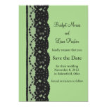 French Lace Save the Date (green) Personalized Announcement