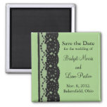 French Lace Save the Date Magnet (green)