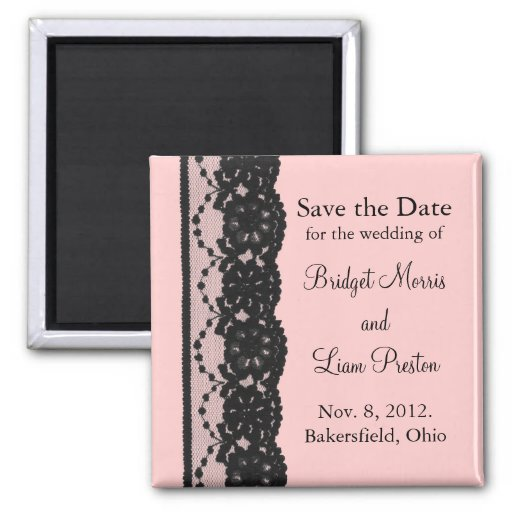 French Lace Save the Date Magnet (pink)