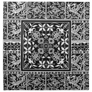 French Lace Striking Black and White Design Cloth Napkin