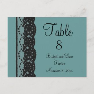 French Lace Table Numer Postcard (teal) zazzle_postcard