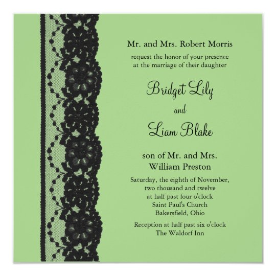 French Lace Wedding Invitation (green)