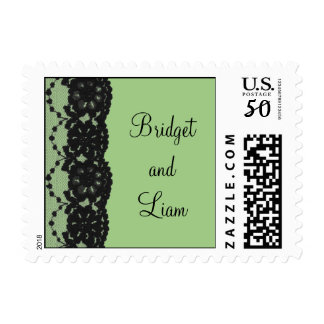 French Lace Wedding Stamp (green)
