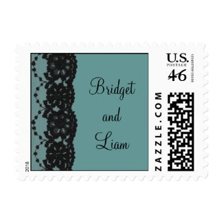 French Lace Wedding Stamp (teal) zazzle_stamp