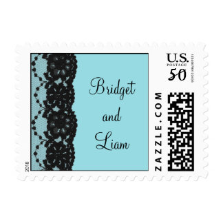 French Lace Wedding Stamp (turquoise)
