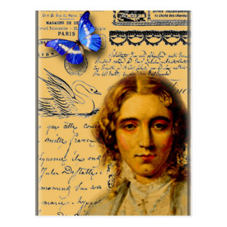 french lady with butterfly postcard