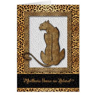 French Language Belated Birthday - Cheetah Card