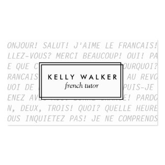 French language typography business card