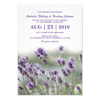 French Lavender Flower Blossoms Wedding Card