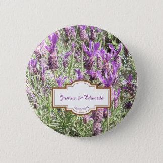 French Lavender Flowers Custom Wedding Button