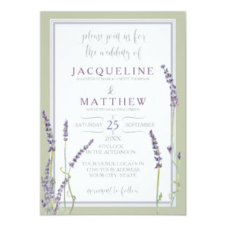French Lavender Flowers Modern Typography Script Card