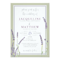 French Lavender Flowers Modern Typography Script Invitation