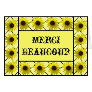 French Le Tournesol Remercient de Carte Card