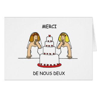 French lesbian wedding/civil union thanks. card