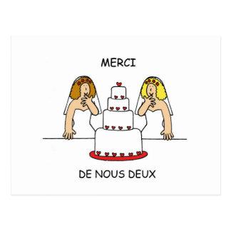 French lesbian wedding/civil union thanks. postcard