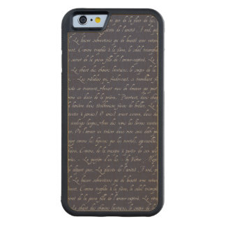 French Lettering Navy Changeable Chalkboard Color Carved Maple iPhone 6 Bumper Case