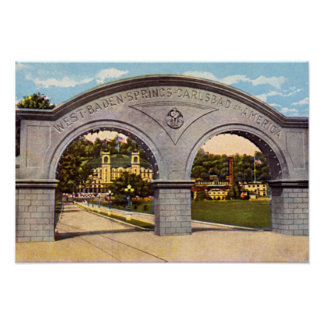 French Lick, Indiana West Baden Springs  Entrance Poster