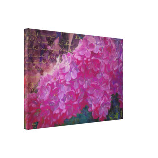 French Lilacs, saturated color garden art Stretched Canvas Print