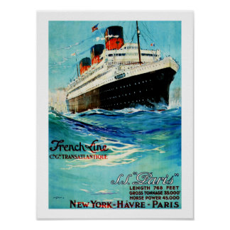 French Line ~ ss Paris Poster