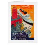 French Line Travel Poster, Havre to Plymouth, NY