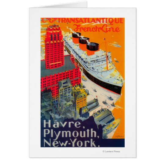 French Line Travel Poster, Havre to Plymouth, NY Card