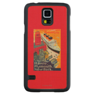 French Line Travel Poster, Havre to Plymouth, NY Carved Maple Galaxy S5 Slim Case