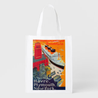 French Line Travel Poster, Havre to Plymouth, NY Grocery Bag