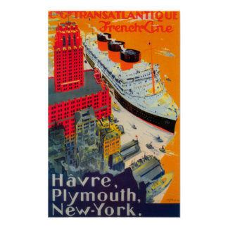 French Line Travel Poster, Havre to Plymouth, NY Poster