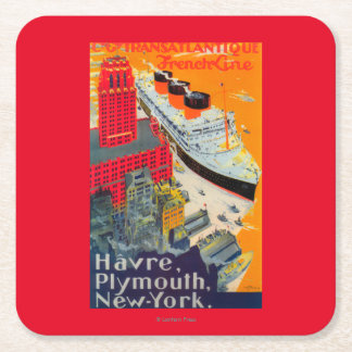 French Line Travel Poster, Havre to Plymouth, NY Square Paper Coaster