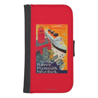 French Line Travel Poster, Havre to Plymouth, NY Wallet Phone Case For Samsung Galaxy S4