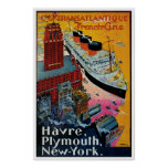 French Line Vintage Ship Advertisement Posters