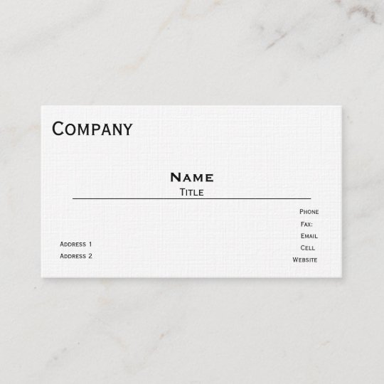 french linen business card template white - Linen Business Cards