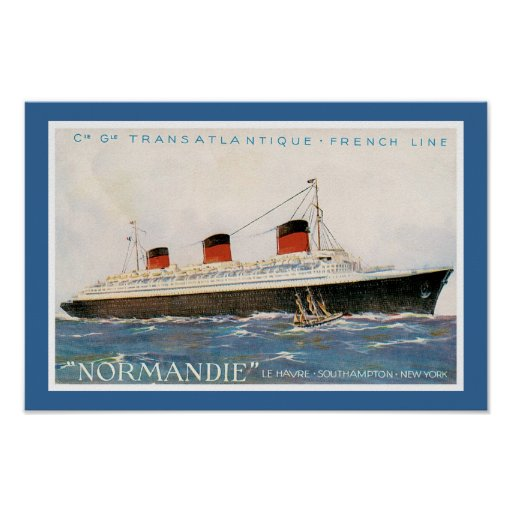 French Line's Normandie Poster