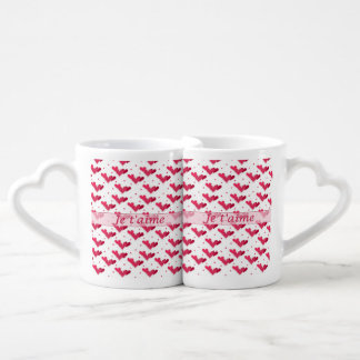 French Love Two Tone Red Hearts Lovers Mug Set