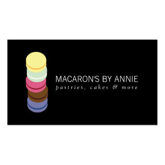 FRENCH MACARON STACK LOGO II Bakery, Pastry Chef Double-Sided Standard Business Cards (Pack Of 100)